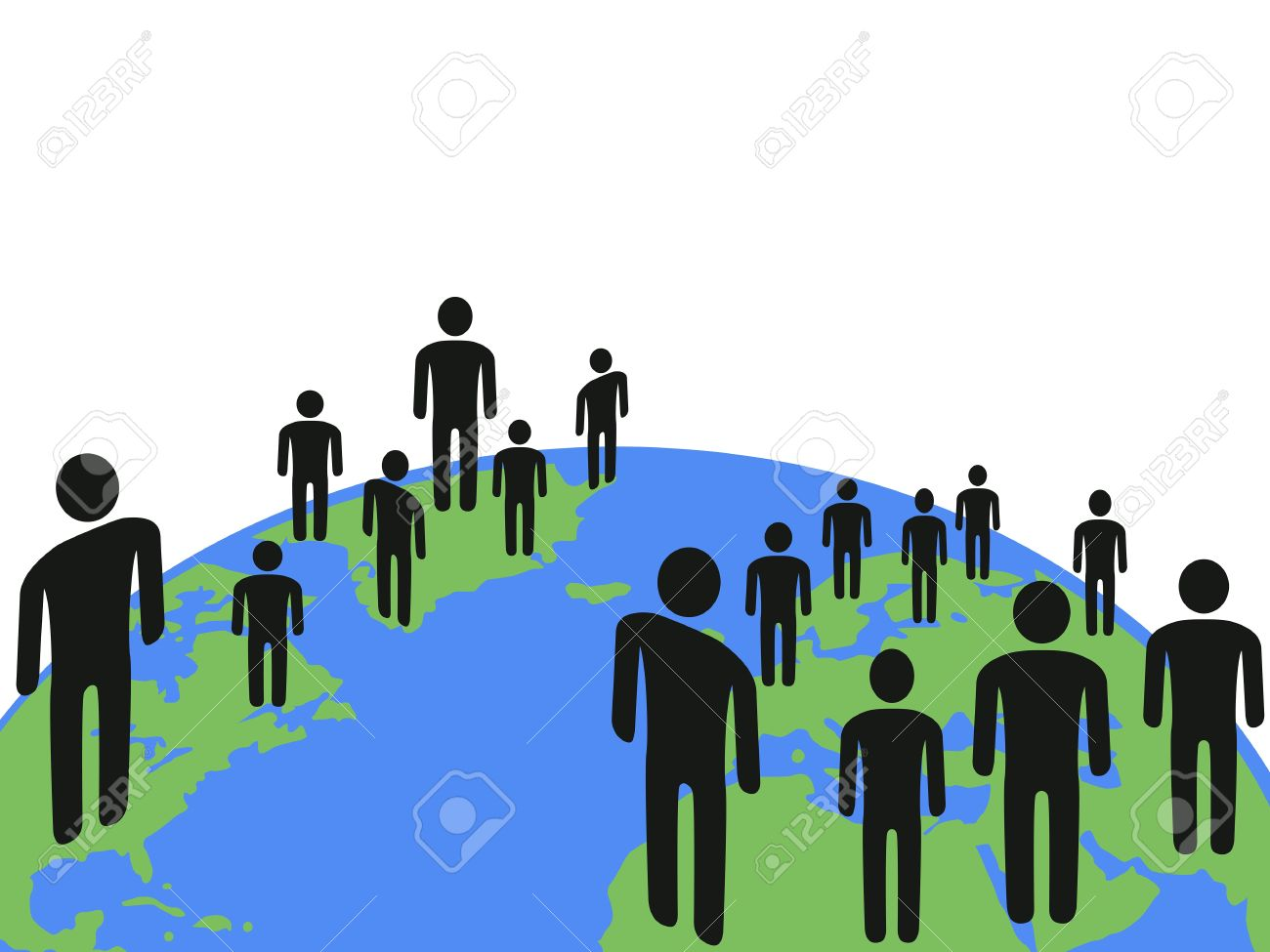 the background of people communicated on earth with copy space above it Stock Vector - 12306119