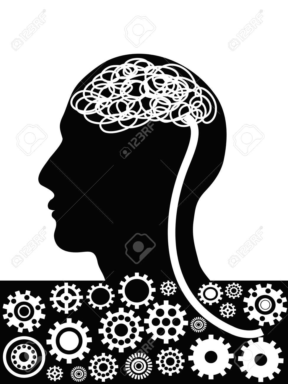 the factory inside the man head Stock Vector - 12306128