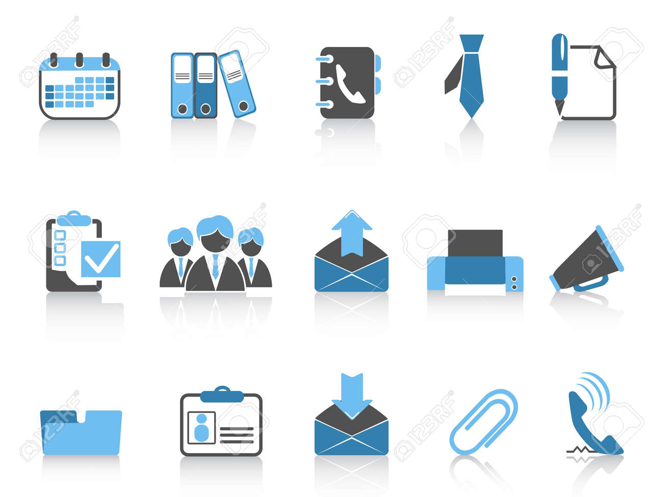 isolated office and business icons in blue series Stock Vector - 12776038
