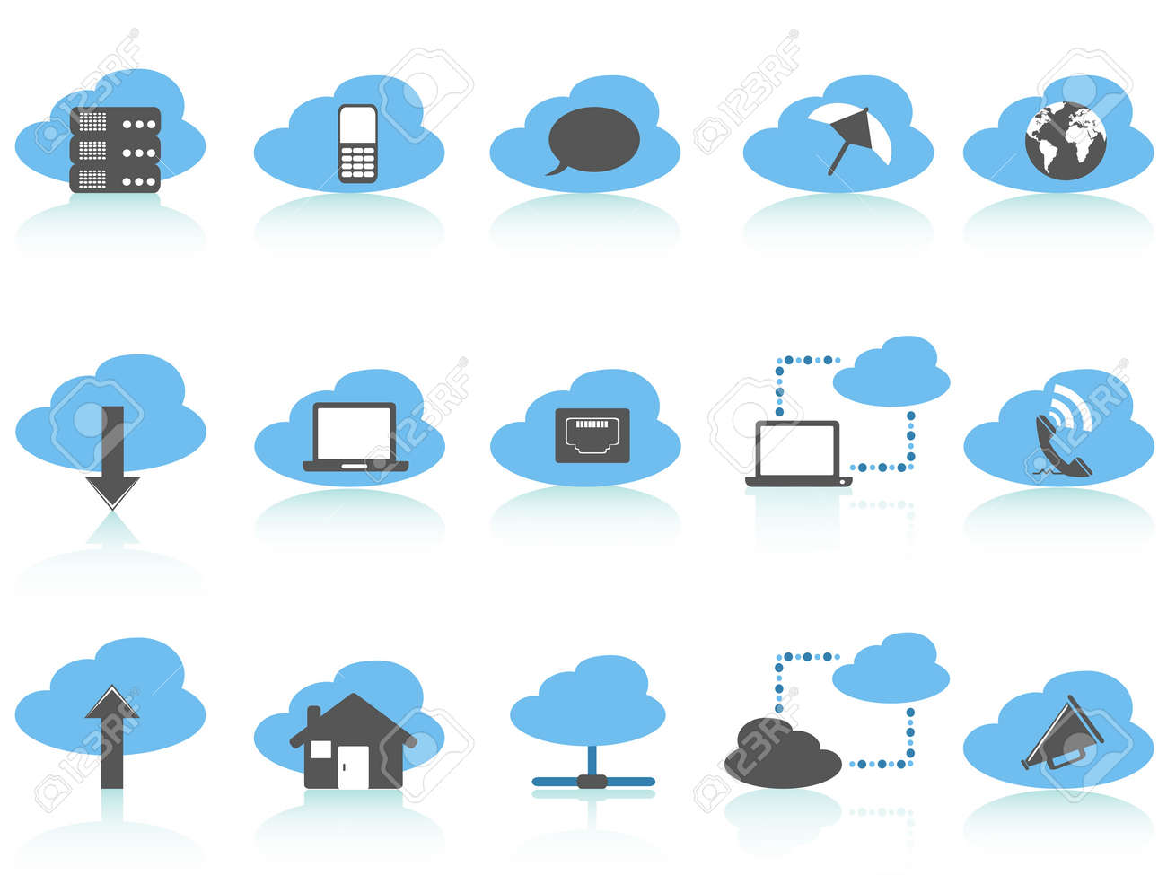 isolated simple cloud computing icons set,blue series on white background Stock Vector - 13031647