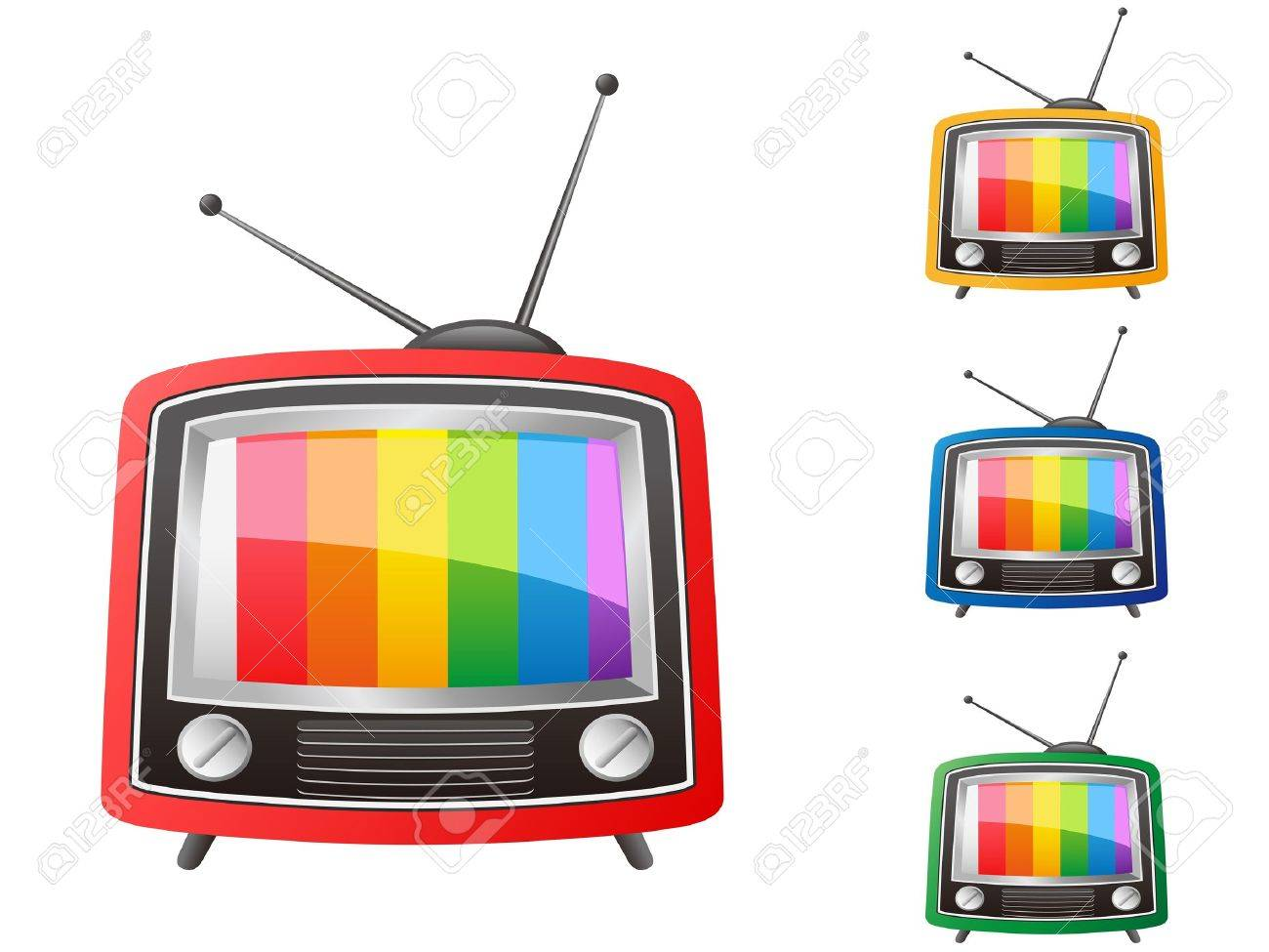 isolated color retro tv on white background Stock Vector - 13121516
