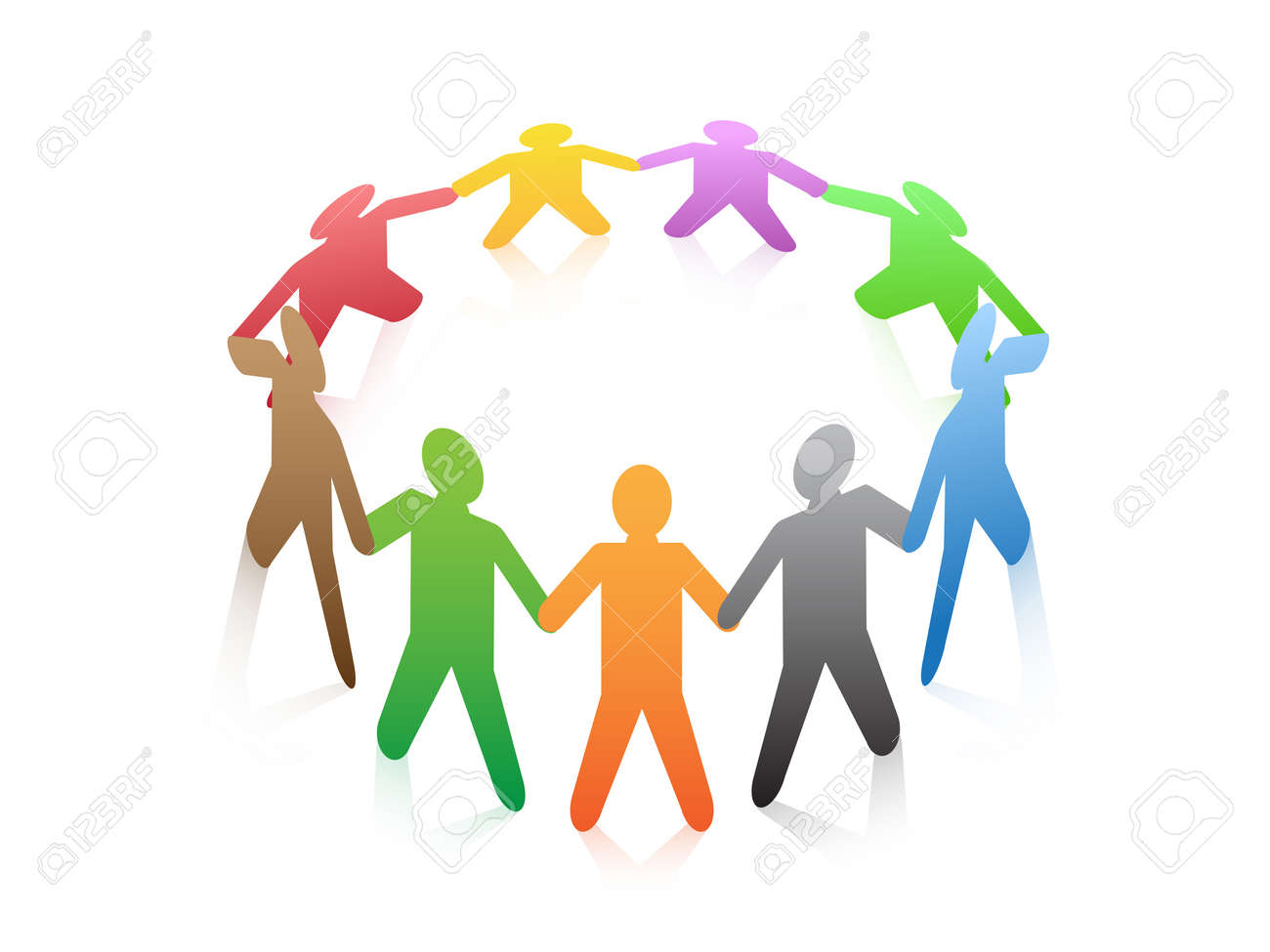 a group of colored people around in a circle Stock Vector - 13121510