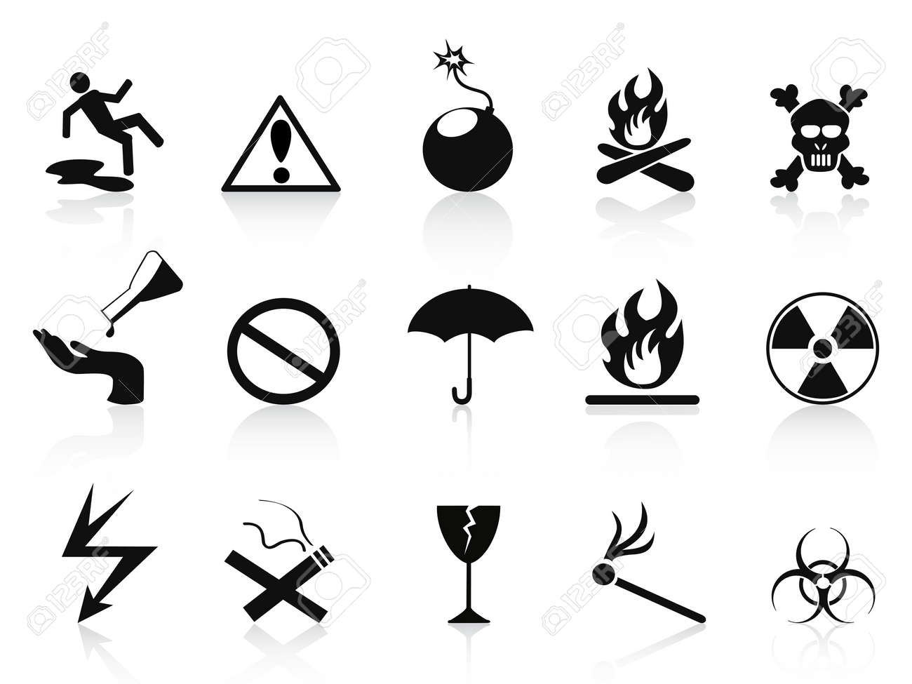 isolated black warning icons set on white background Stock Vector - 13564832