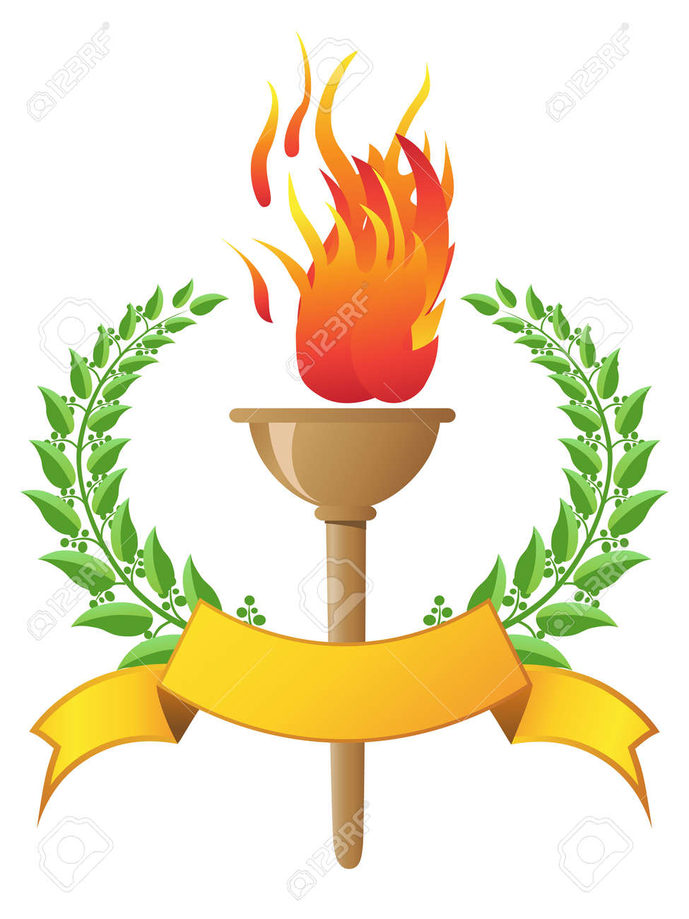 the design of flame torch with banner Stock Vector - 13564864