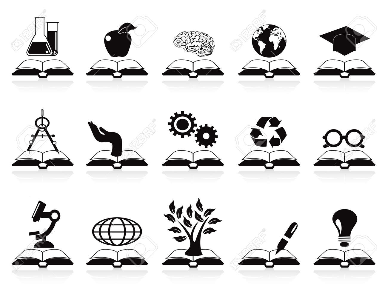 isolated books concept icons set from white background Stock Vector - 13878241