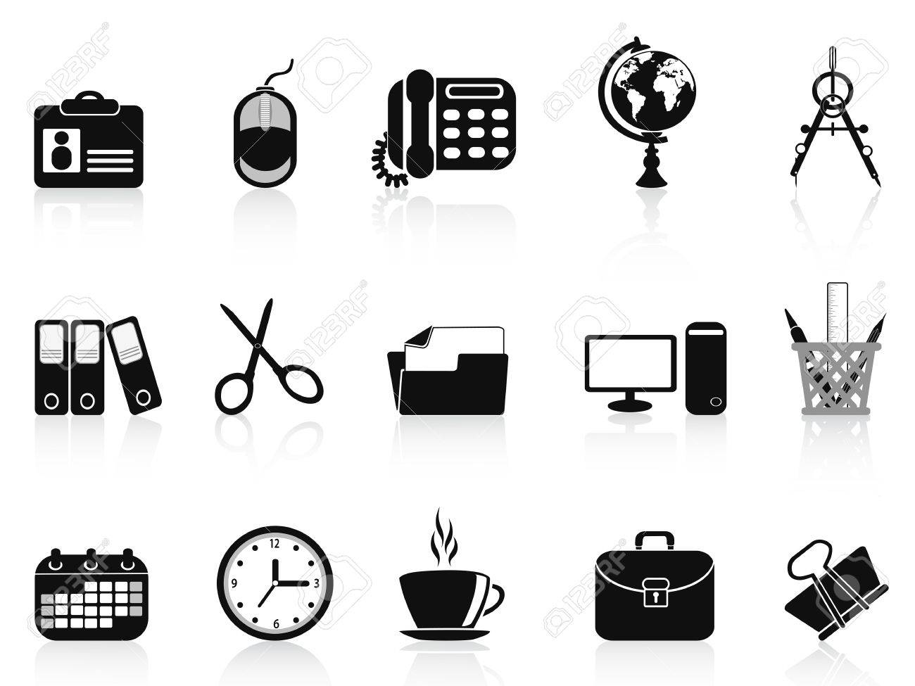 isolated black office tools icon set from white background Stock Vector - 14029955