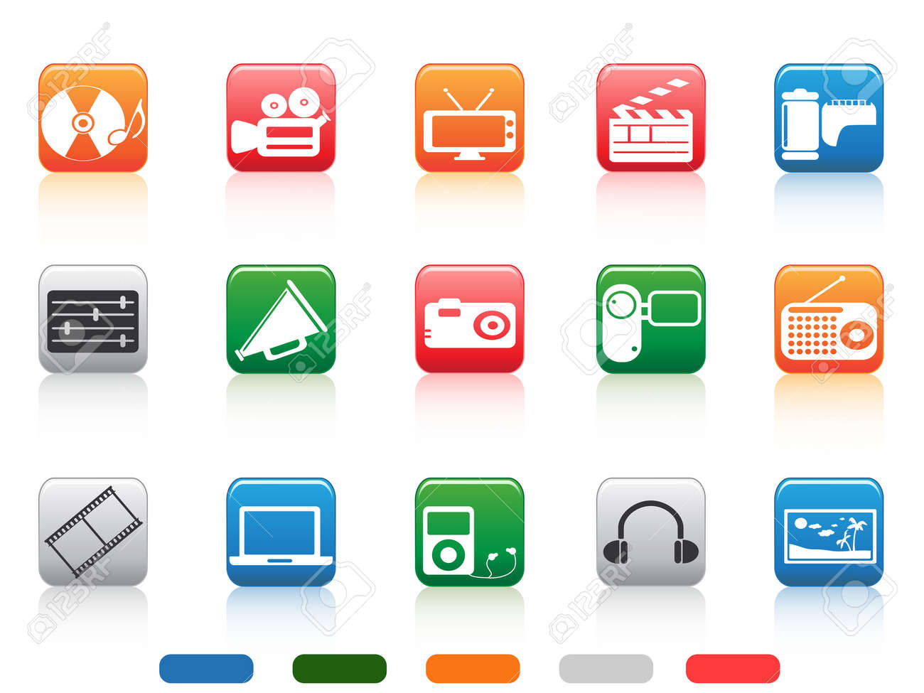 media tools icons in color square buttons Stock Vector - 14029939