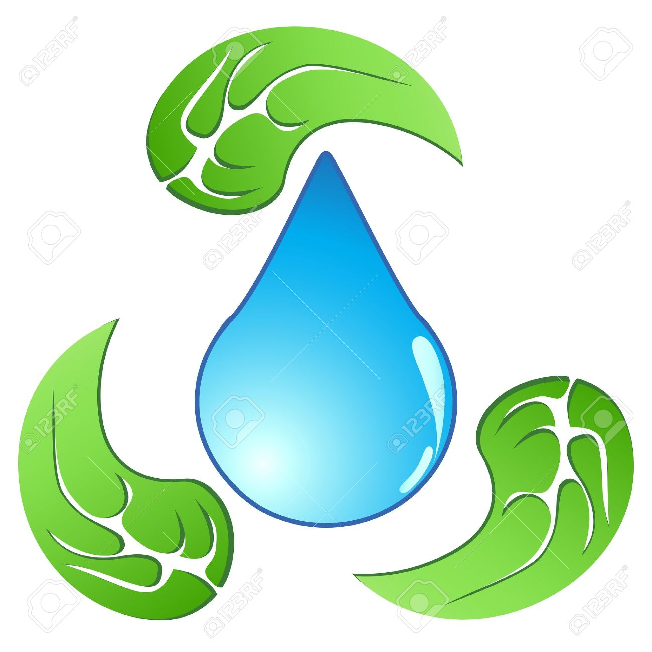 The Recycling Symbol Of The Water Drop Around With Leaves Royalty