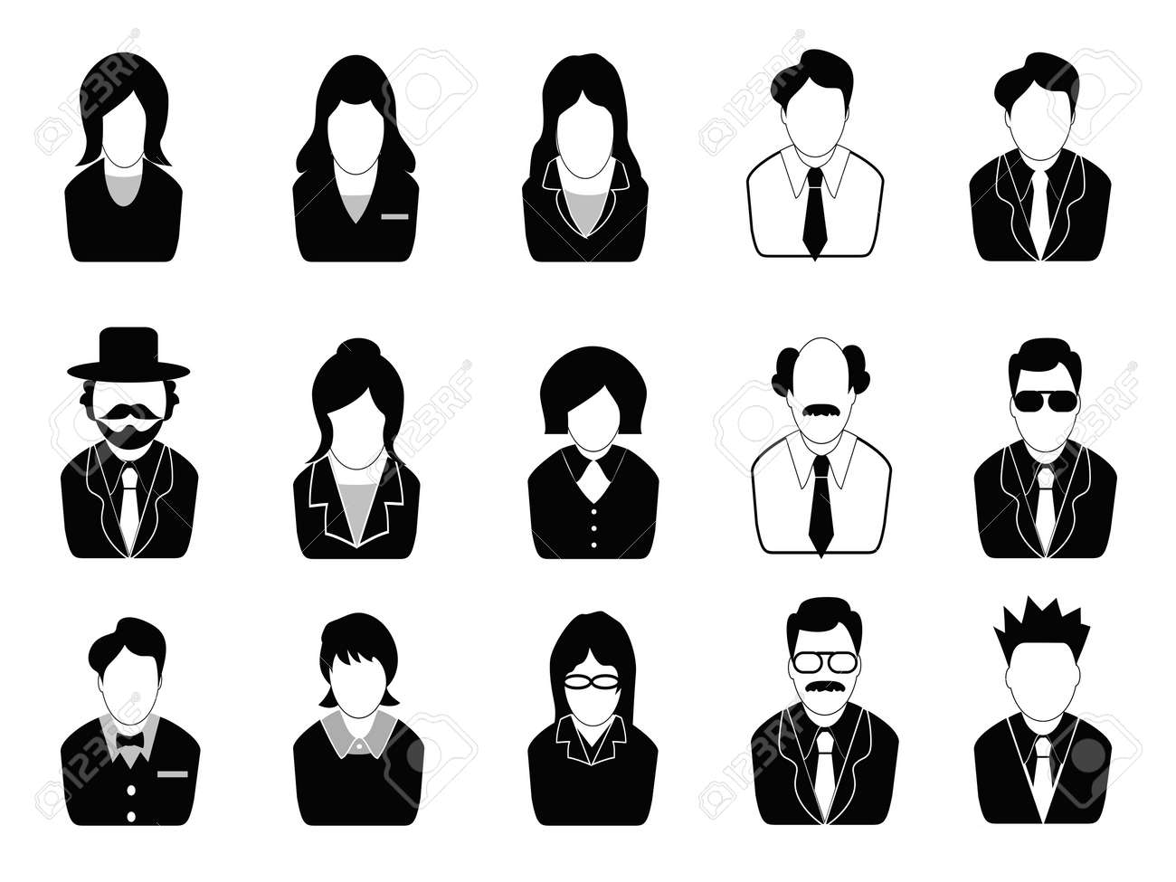 isolated business people icons set from white background Stock Vector - 14507953