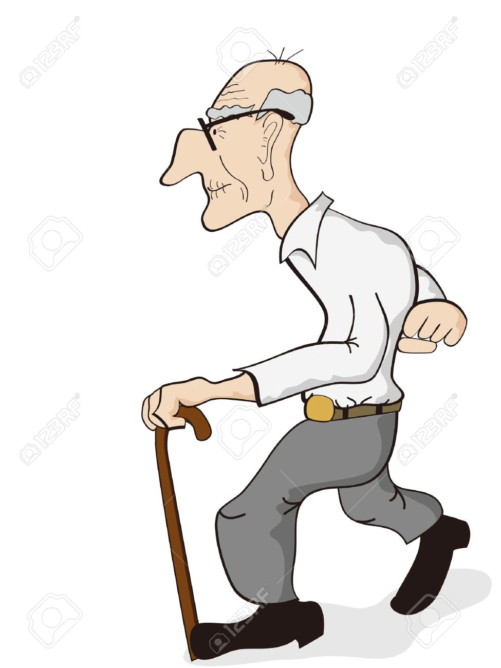 isolated an old man walking on the white background royalty free rh 123rf com  old chairperson clipart
