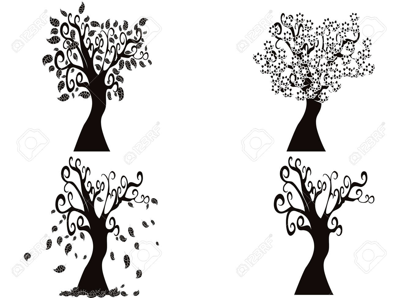 Exceptional The Tree From Spring To Winter Stock Vector   15209046