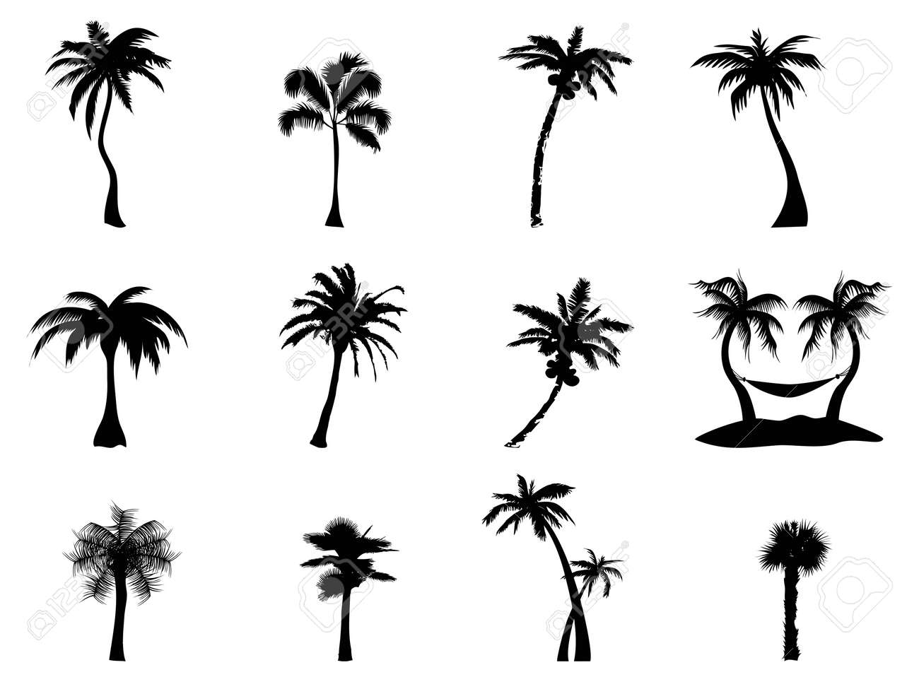 black silhouette of palm trees on white background royalty free