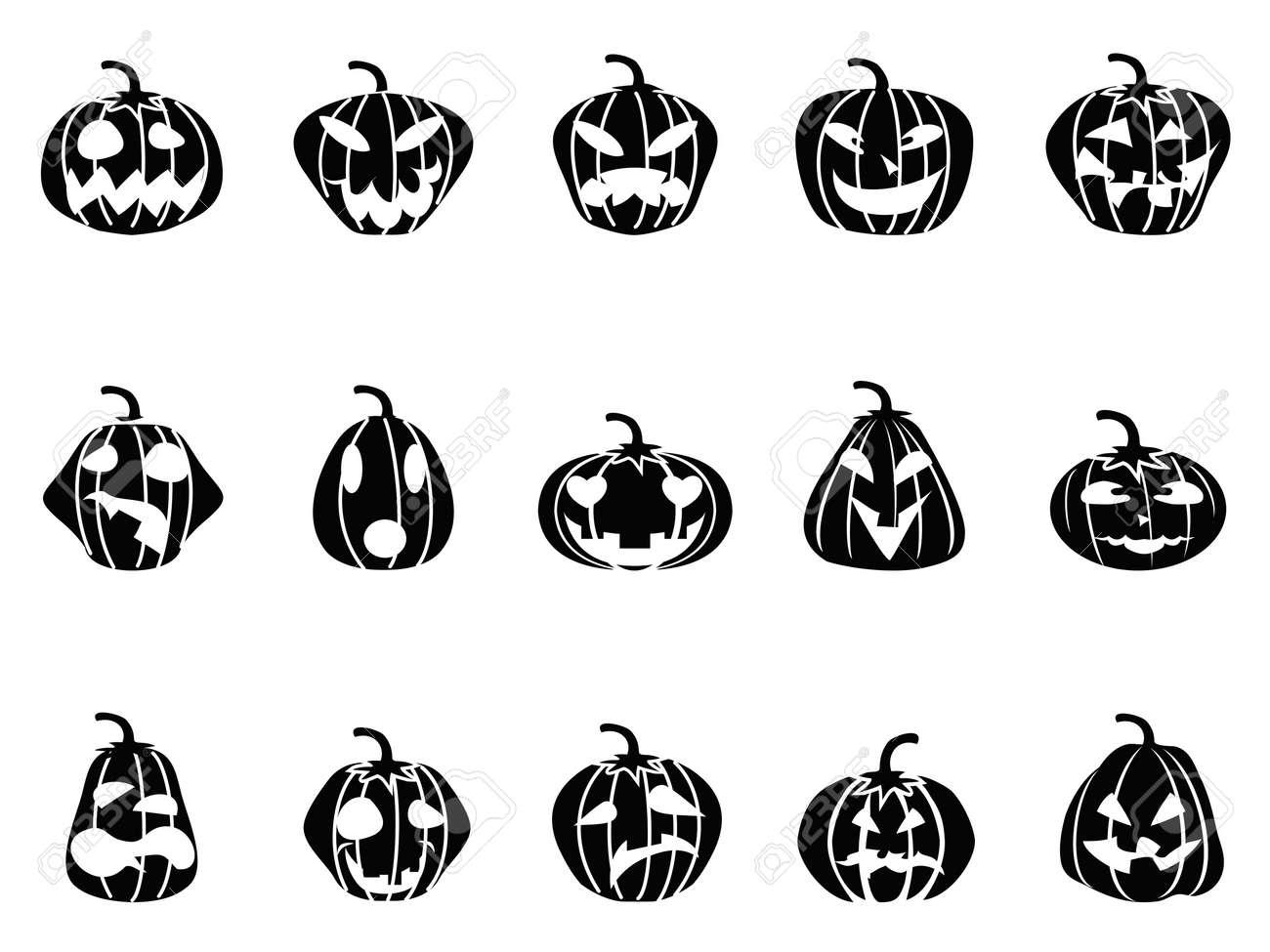 black halloween pumpkin icons set on white background royalty free