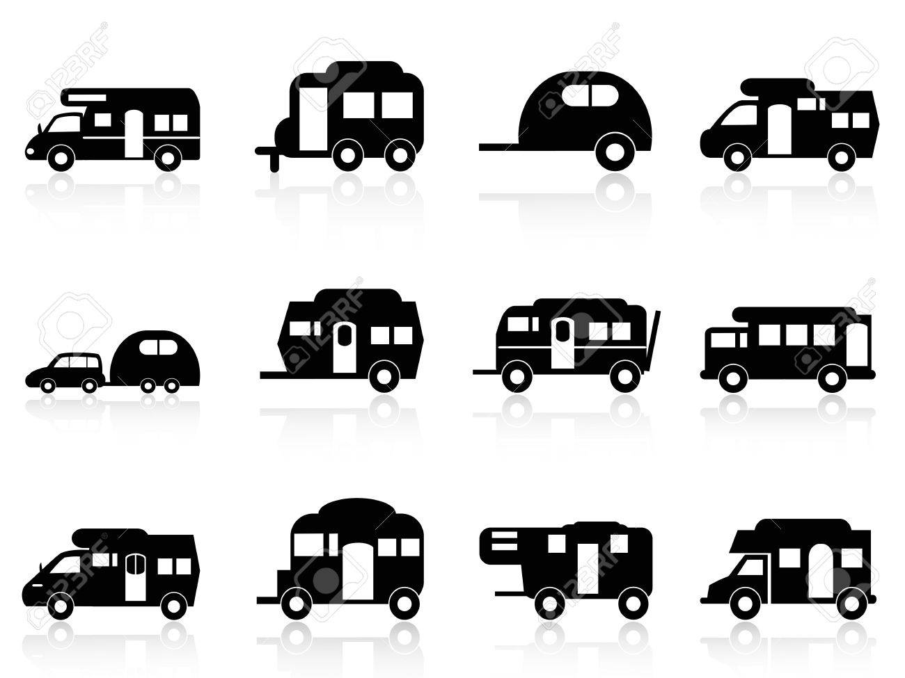 Isolated Caravan Or Camper Van Symbol On White Background Stock Vector