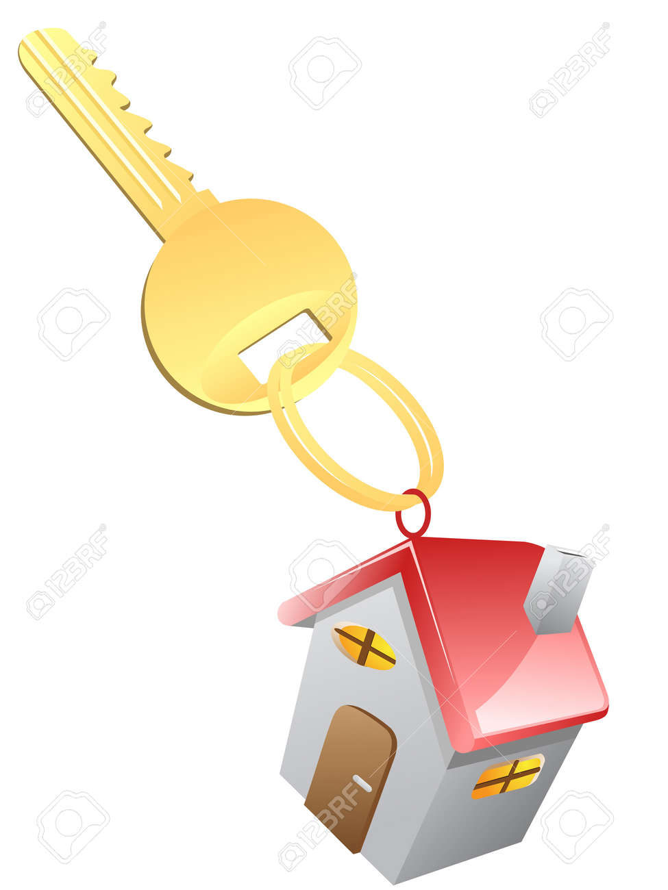 isolated House Key on white background Stock Vector - 15926440