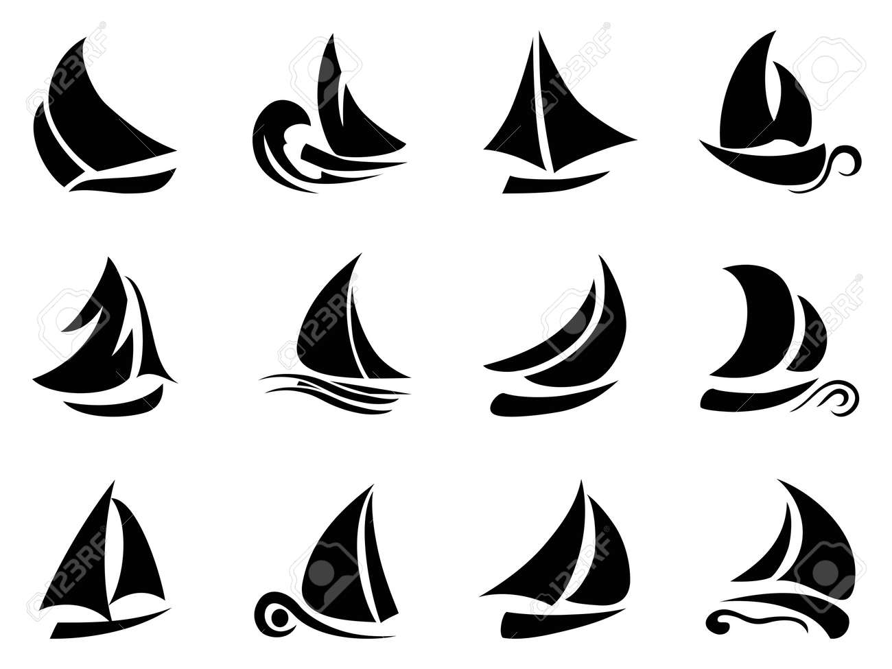 Nautical Clipart Black And White sail boat the design of black