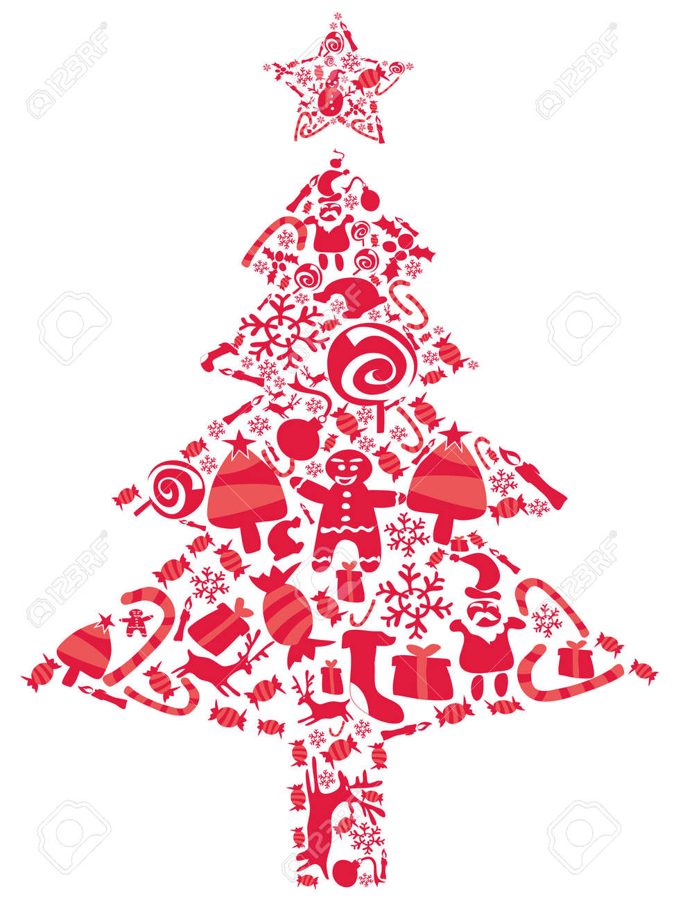 Christmas Tree Icons.Ornate Christmas Tree Filled With Red Christmas Icons