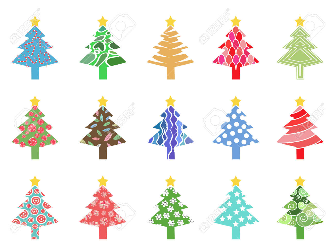 isolated simple color xmas tree icon on white background Stock Vector - 16321337