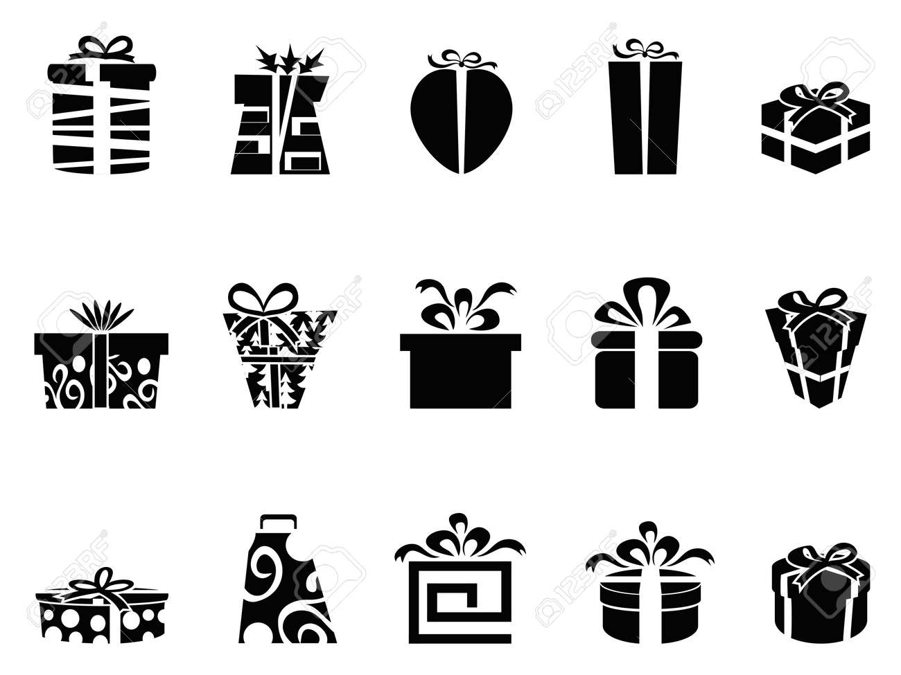 The Collection Of Black Gift Box Icons On White Background Royalty