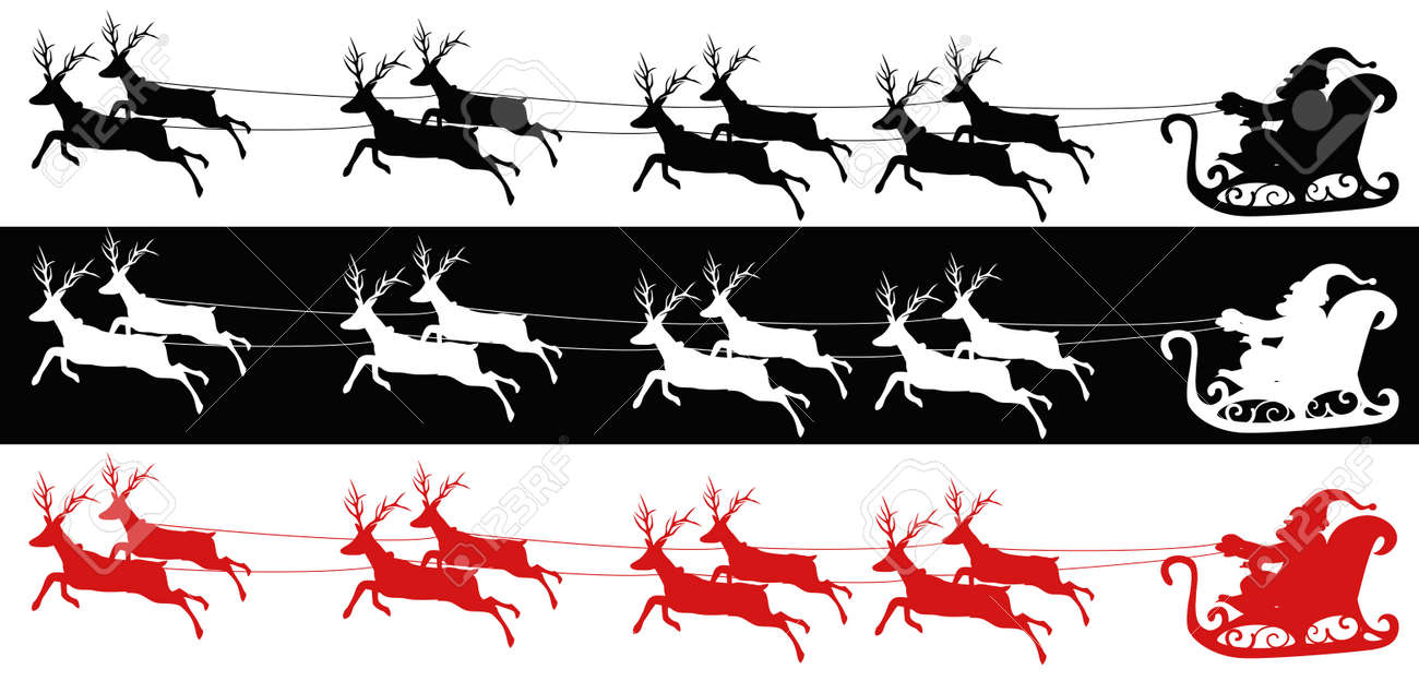 3 Different Kind Of Colors Of Santa Sleigh And Reindeers Royalty Free Cliparts Vectors And Stock Illustration Image 16565905