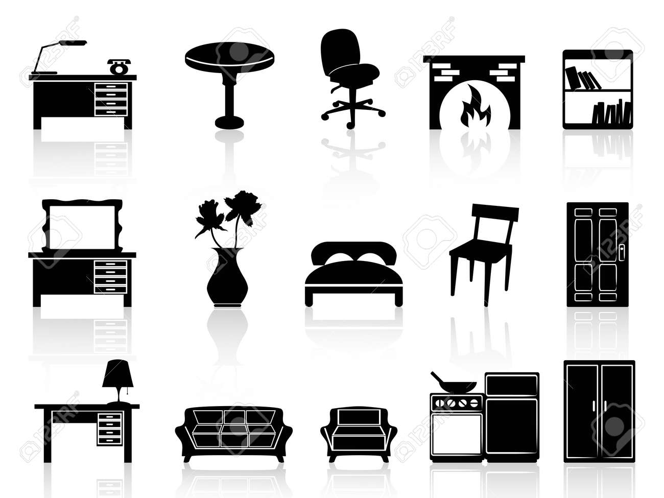 Isolated Black Simple Furniture Icon From White Background Stock Vector