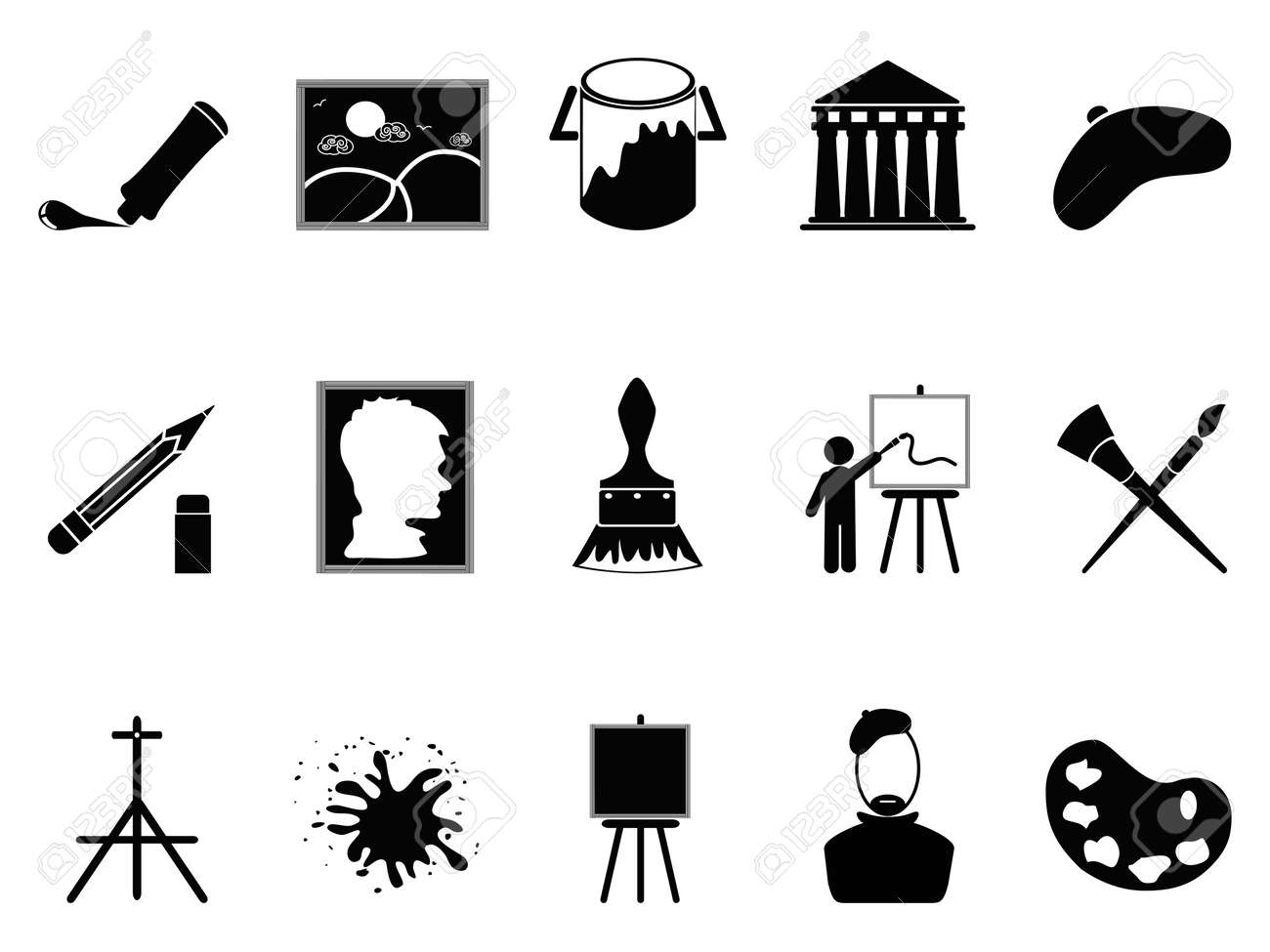 isolated artist icons set on white background Stock Vector - 17968800