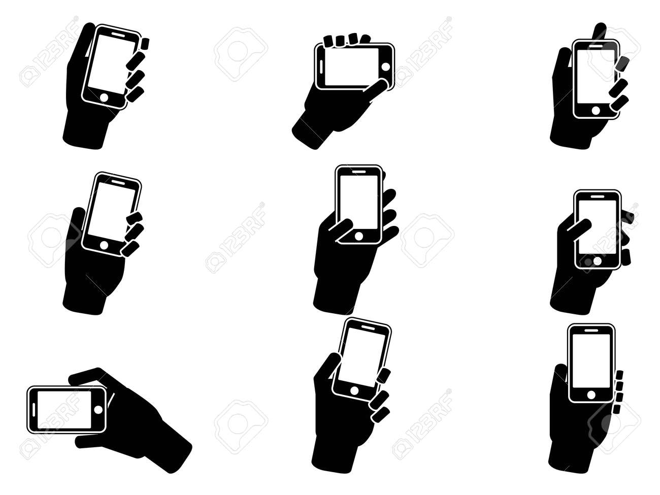 isolated hand holding smartphone icons from white background Stock Vector - 18171887