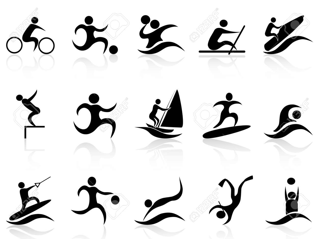 isolated summer sport icons set on white background Stock Vector - 18537710