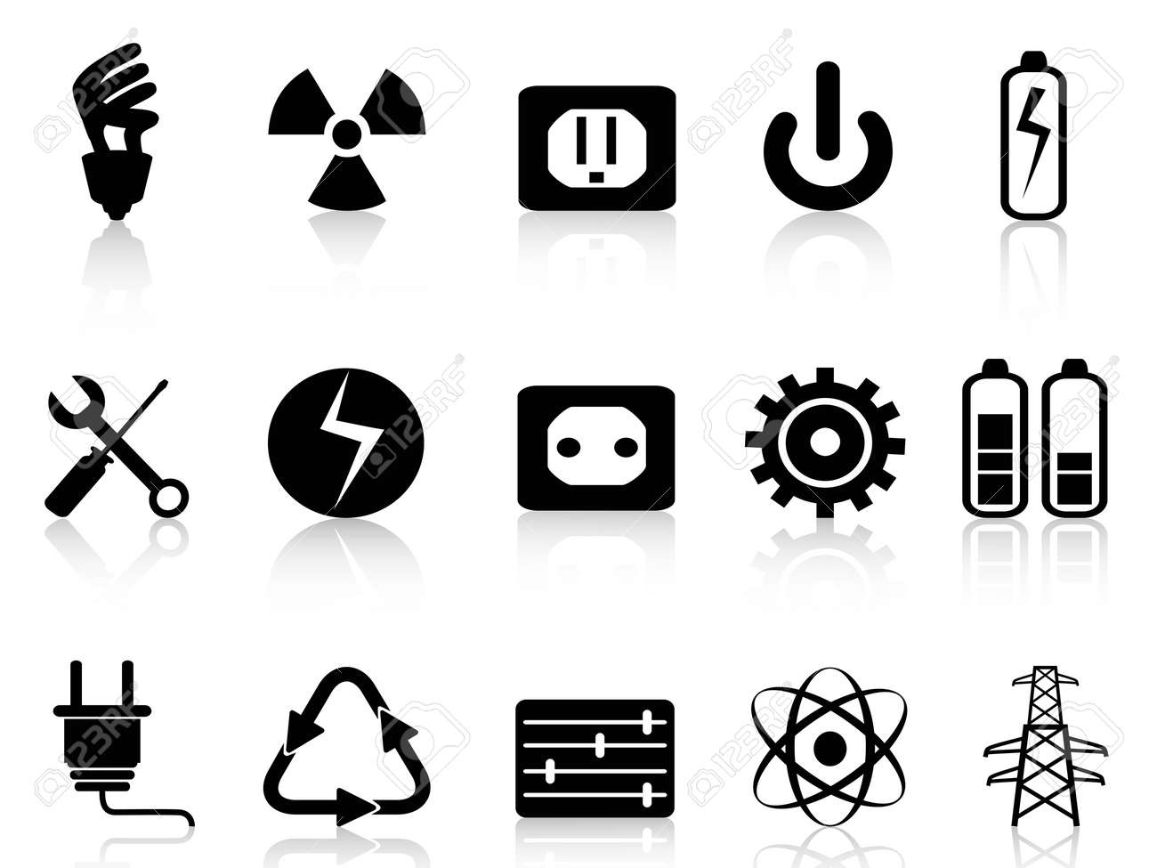 Isolated Black Electricity And Power Icons Set From White Background Electrical Symbol Icon On A Stock Vector 19083165