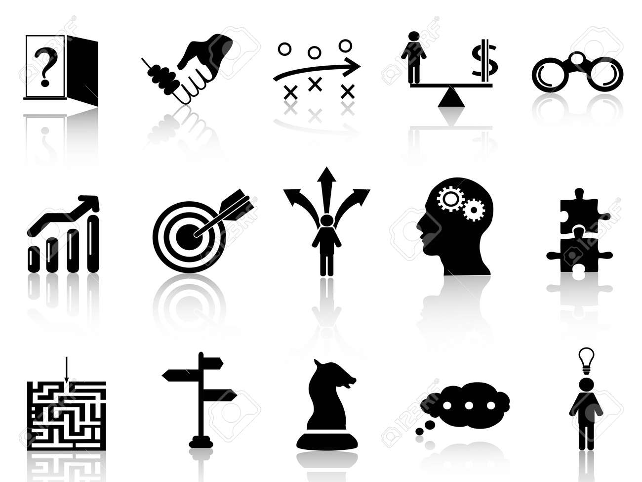 isolated black business strategy icons set from white background Stock Vector - 19477435