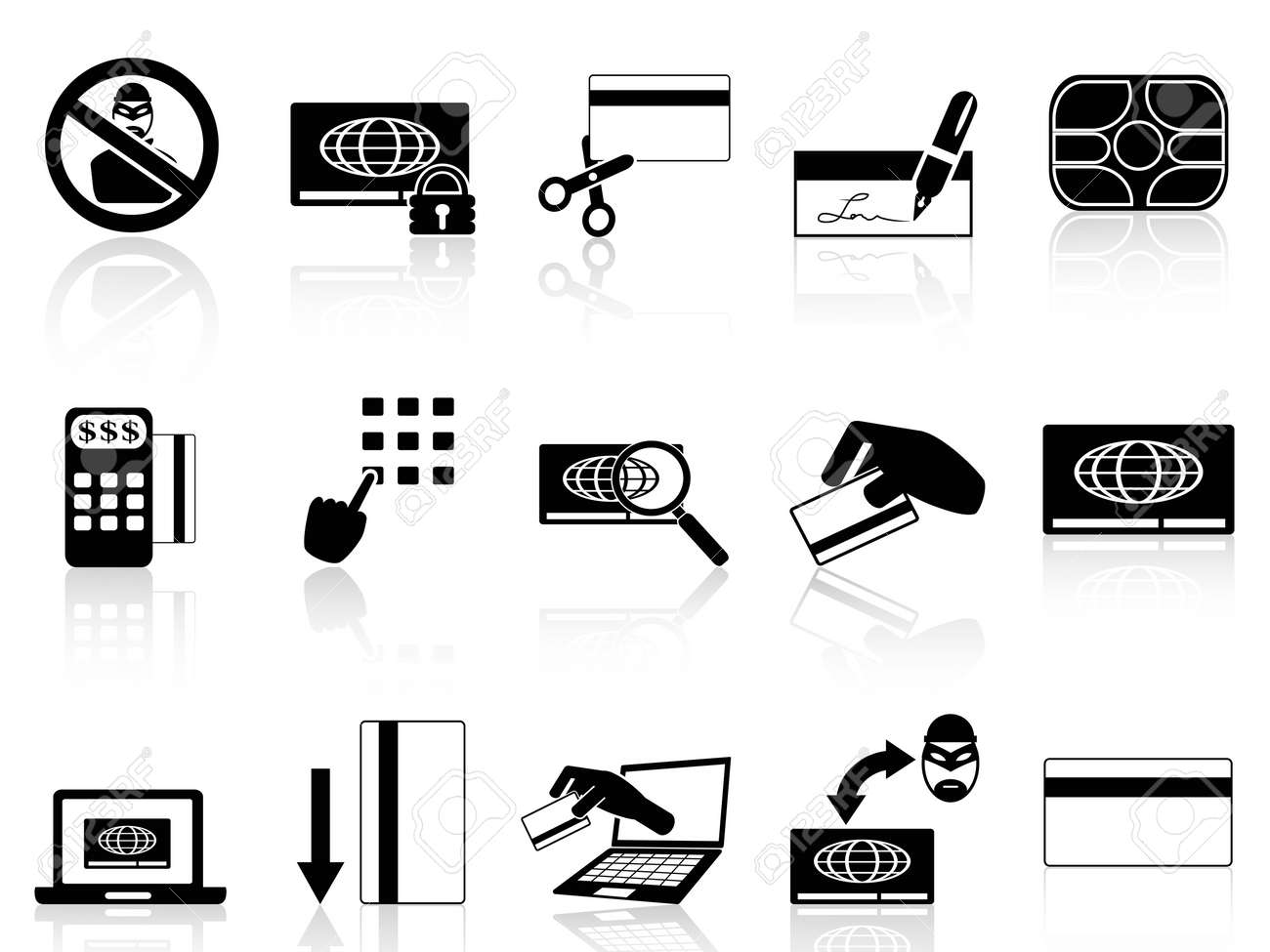 isolated credit card concept icons set from white background Stock Vector - 19746138