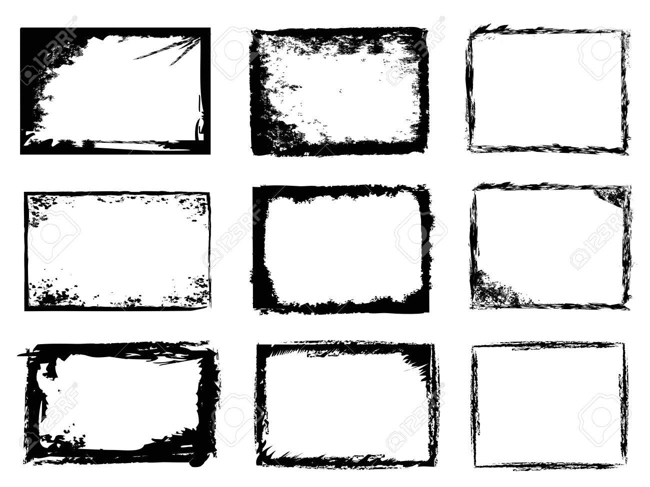 vector isolated 9 different types of grunge frames on white background