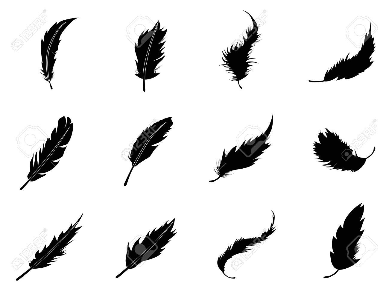 ホワイト バック グラウンドから分離された羽のシルエットのイラスト素材