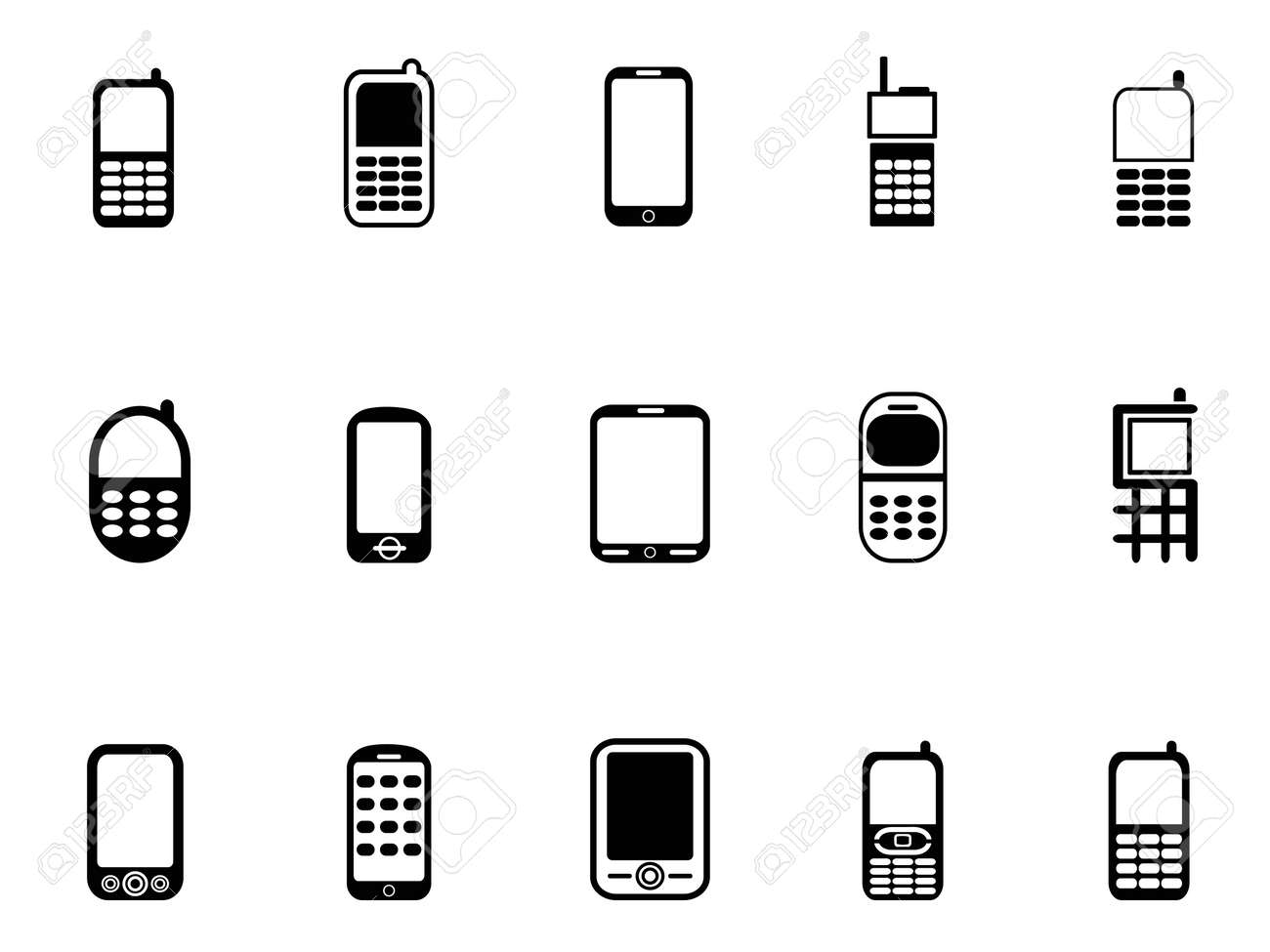 isolated Mobile phone icons from white background Stock Vector - 20707795