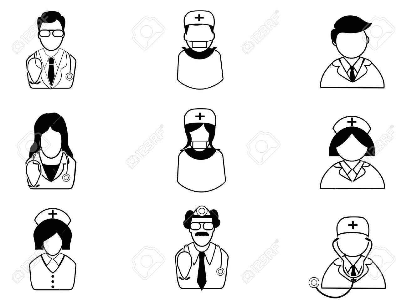 isolated medical people icons on white background Stock Vector - 20707808