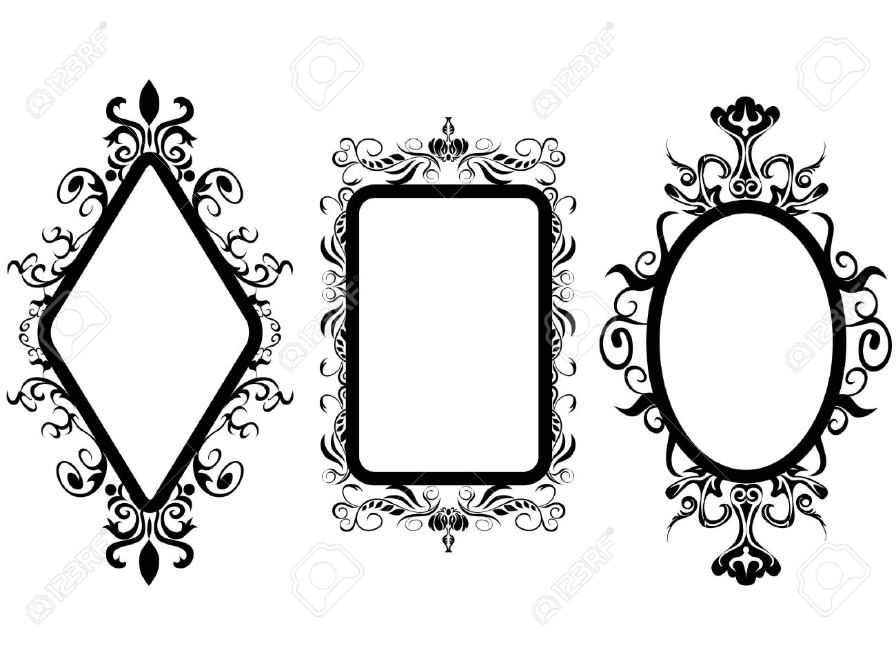 isolated 3 different shpes of vintage frame mirror on white background Stock Vector - 20707816