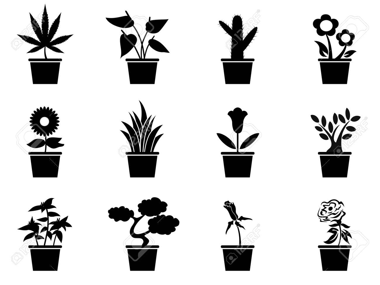 isolated black pot plants icons set from white background Stock Vector - 20929635