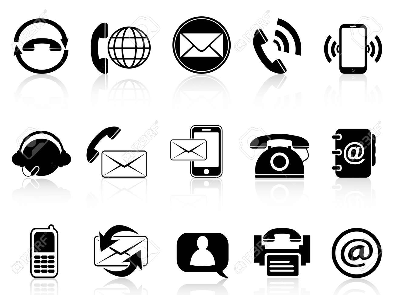 isolated contact icons set from white background - 21579643