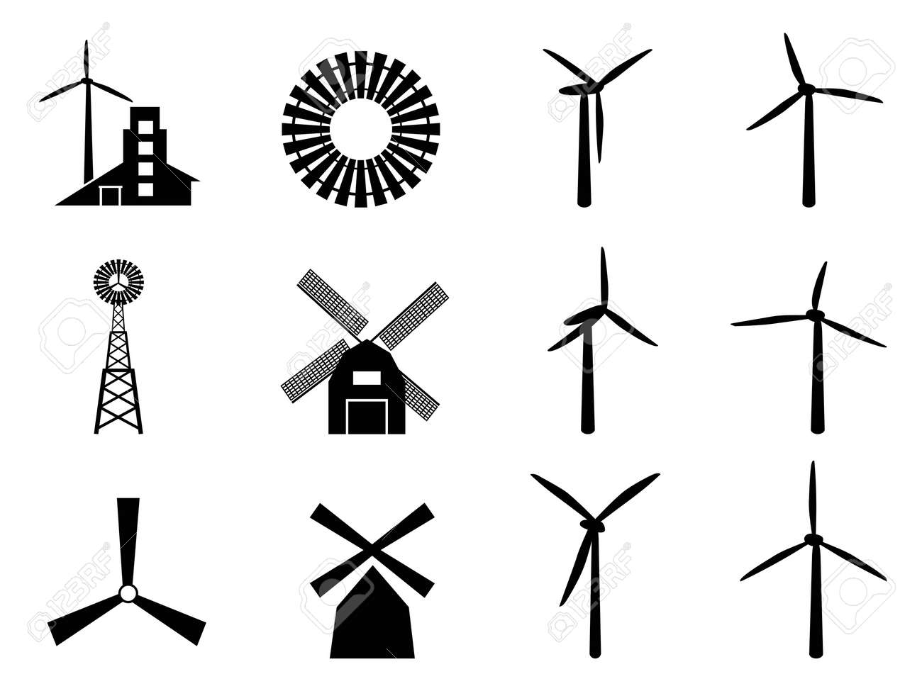 collection of windmill icons on white background royalty free rh 123rf com windmill vector drawing windmill vector drawing