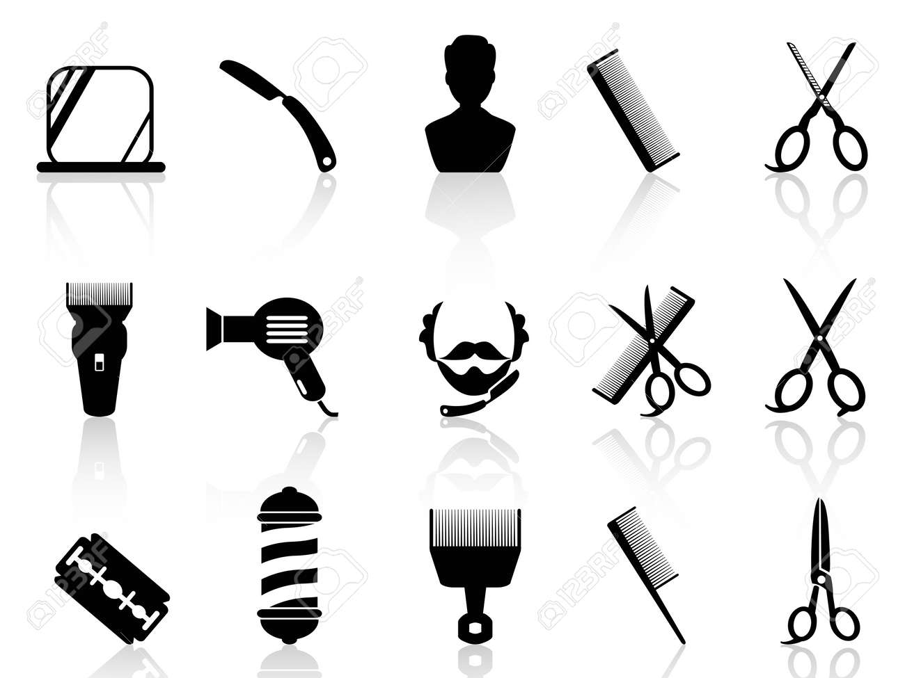 Vintage Barber Clipart barber shop razor isolated