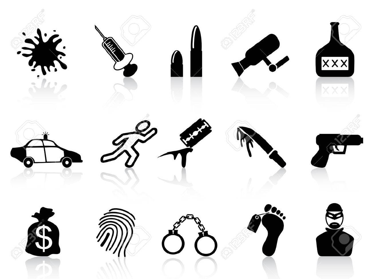 isolated black crime icons set from white background Stock Vector - 22797555