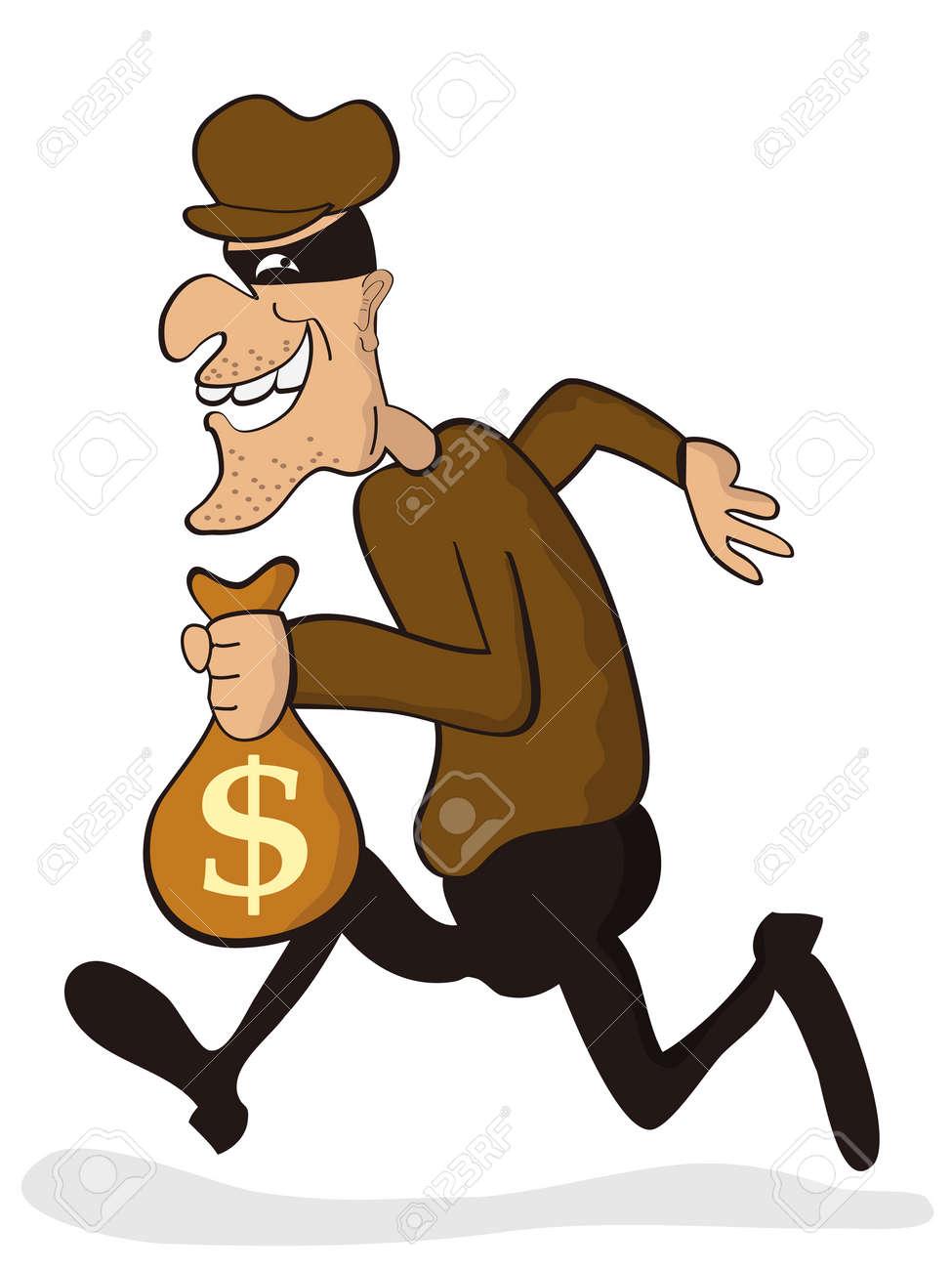 Cartoon Thief Running Cartoon Character of Thief
