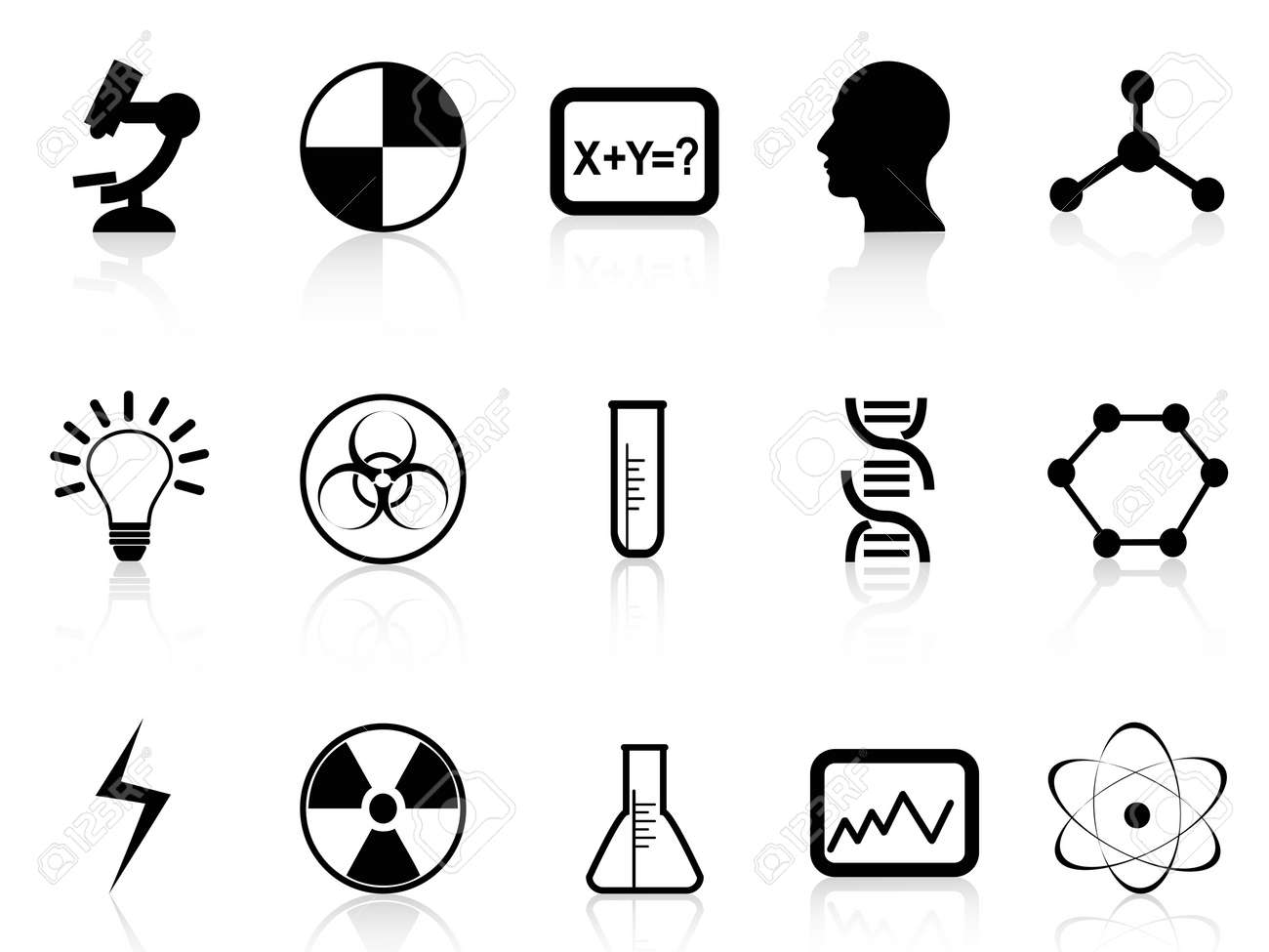 isolated black science symbols from white background Stock Vector - 22797671