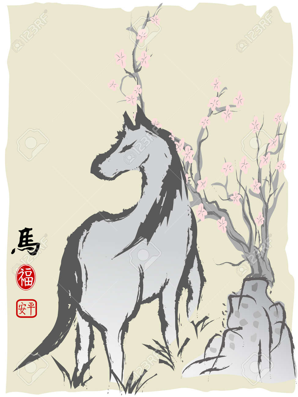 The Chinese Painting Of Horse For Chinese Horse New Year Royalty Free Cliparts Vectors And Stock Illustration Image 24899201