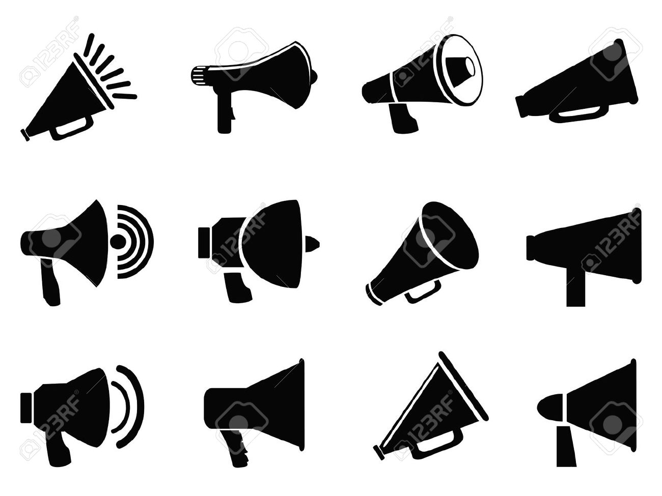 isolated black megaphone icons from white background - 24899204