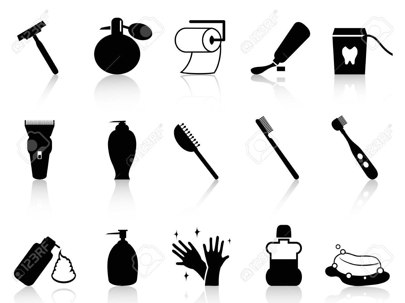 Isolated Black Bathroom Accessories Icon Set From White Background ...