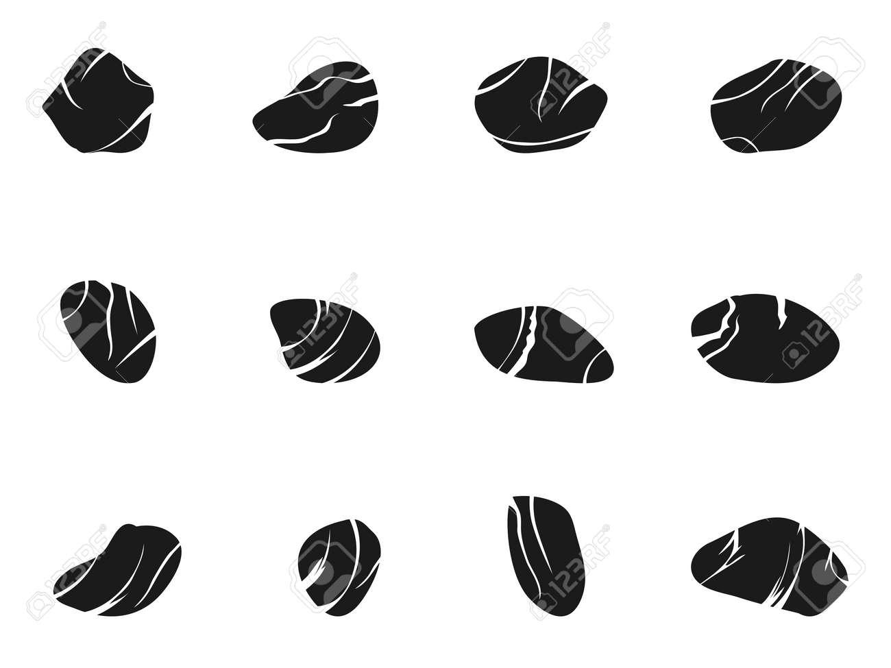 isolated black stone icons set from white background - 31634412