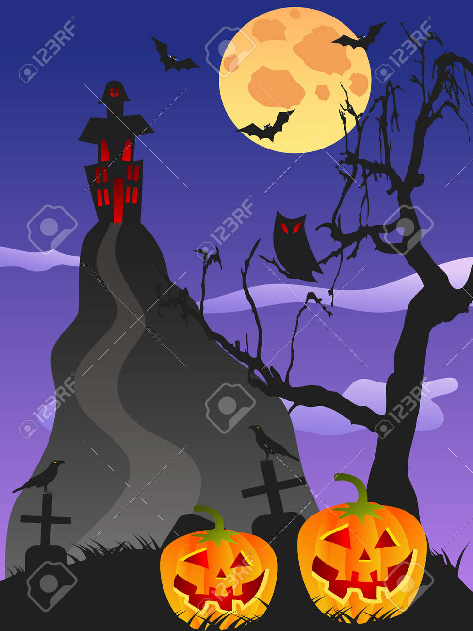spooky halloween background with halloween related themes for