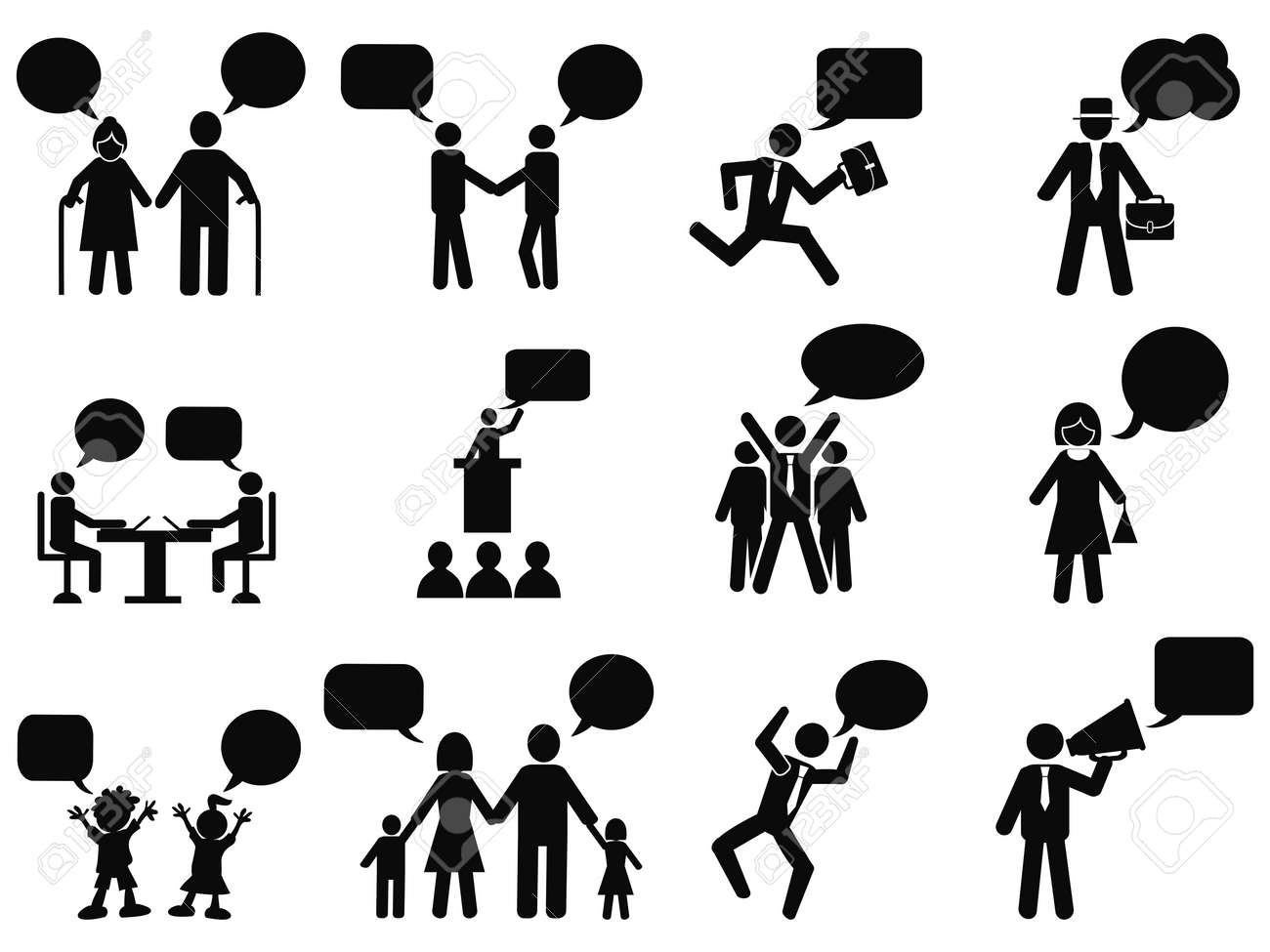 isolated black people with speech bubbles icons from white background - 35761606