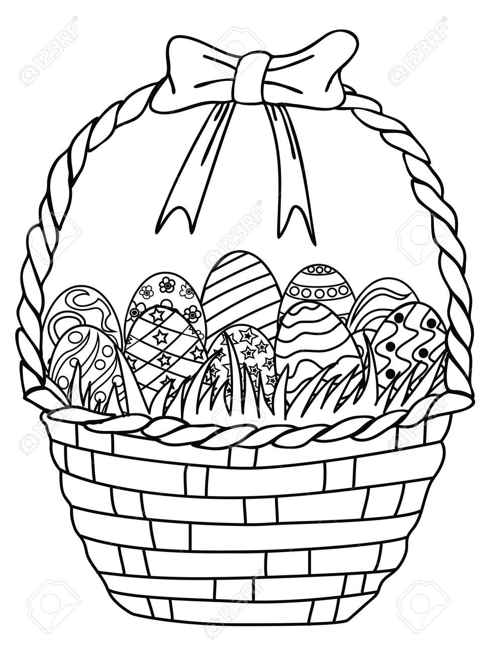 isolated hand drawn basket of easter eggs outline coloring page